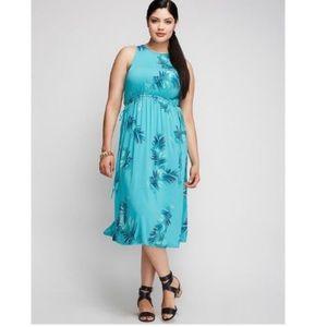 NWOT Sleeveless Tropical Palm Leaf Dress